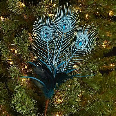 NEW Pier 1 Imports Peacock Feather Spray Tree Pick #2968581 Christmas glitter