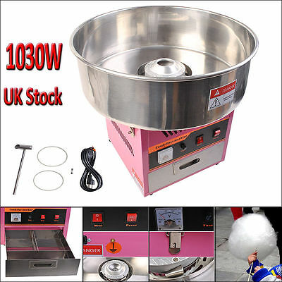 New Electric Candy Cotton Machine Floss Candyfloss Maker 1030W Professional Pink
