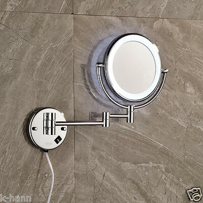 Chrome Finished Bathroom Make Up Mirror With LED Light Wall Mounted