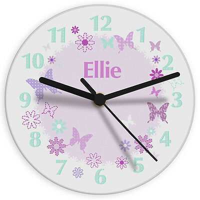 Personalised Childrens Pink Butterfly Glass Wall Clock Kids Girls Gift