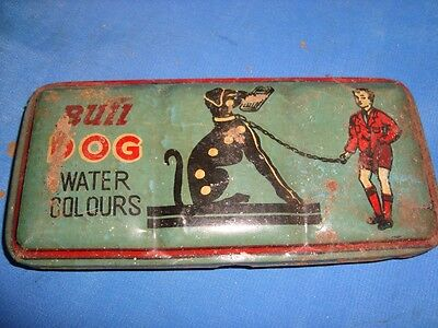 Old Vintage Tin Bull Dog Water Color  Box from India 1960