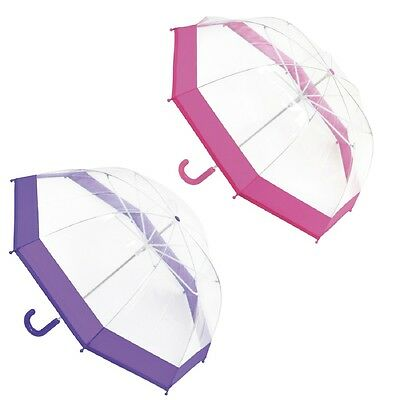 "Childrens / Girls Clear Dome Umbrella with Pink or Purple Trim ~ 28"" Diameter"