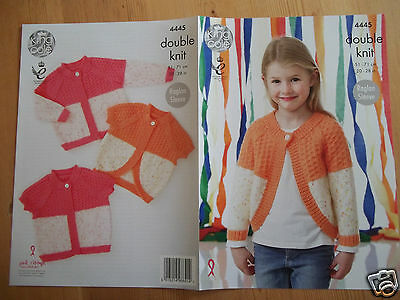 "Girls Multi Cardigan Knitting Pattern For Sizes 20 - 28"" Chest  King Cole 4445"