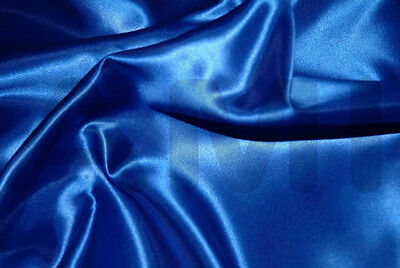 Royal Blue Silky Satin Fabric Material Prom  Dressmaking Venue Decorating Crafts