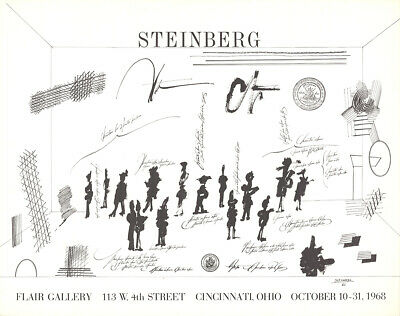 "SAUL STEINBERG Flair Gallery 23"" x 29"" Lithograph 1968 Modernism Black & White"