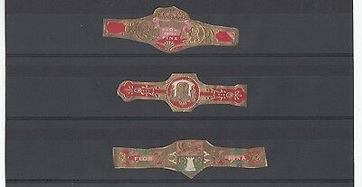 [57937] THREE EARLY 1900's CIGAR BANDS FLOR EXTRA FINA