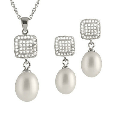 Sterling Silver pendant/18'' chain 8-9mm rice pearl & matching earrings NESR-134