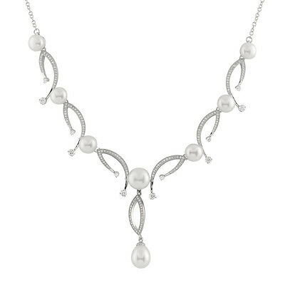 Fancy Sterling Silver necklace with button and drop shape pearls NSR-216