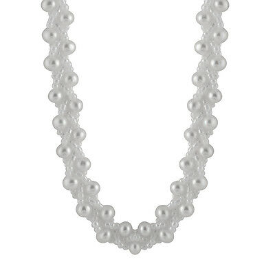Fancy necklace with White freshwater pearls and plastic beads with clasp NSR-51