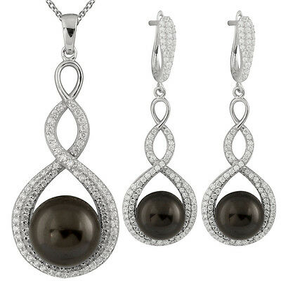 """Fancy sterling silver rhodium plated pendant/17"""" chain and earrings OCS-14"""