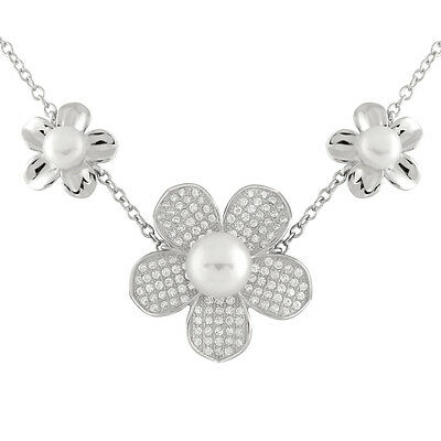 Fancy Sterling Silver fancy necklace with flower stations, 6-9mm pearls NSR-218