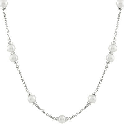 Sterling Silver tin cup necklace, 18'' + 2'' extender 8-9mm White pearls PCSR-44