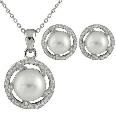 Fancy S. Silver pendant/17'' chain with matching earrings, shell pearls OCS-11