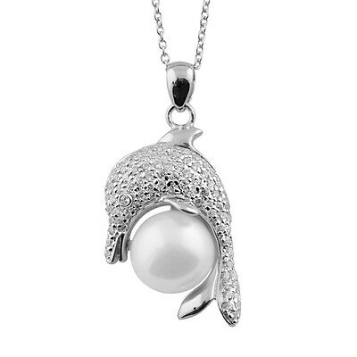 Sterling Silver dolphin pendant with White freshwater pearl & 17'' chain NSR-153