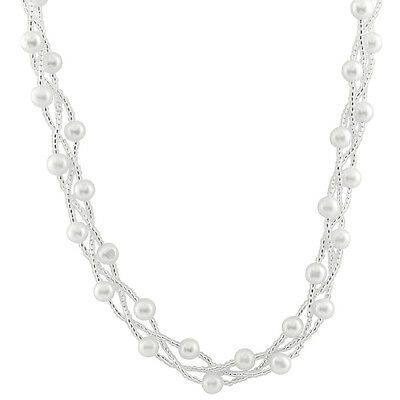 Fancy 3 rows braided necklace with 6-7mm white freshwater pearls & beads NSR-234