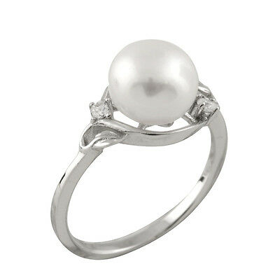 Fancy sterling silver rhodium plated ring with 8-9mm button shape pearl RS-167