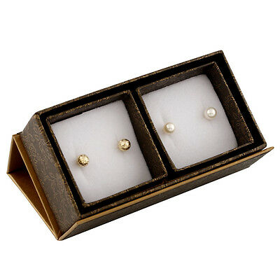 Boxed duo including: 6-6½mm white round freshwater pearl stud earrings SET-T