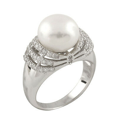 Fancy sterling silver rhodium plated ring with 10-11mm button shape pearl RS-168