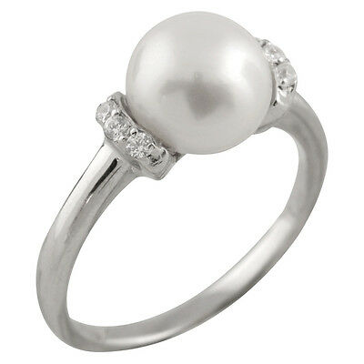Fancy sterling silver rhodium plated ring with 8-9mm button shape pearl RS-145