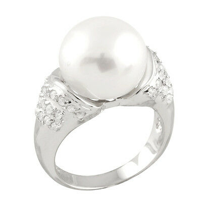 Fancy sterling silver rhodium plated ring with 13-14mm button shape pearl RS-146