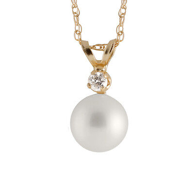 """8-8½mm round freshwater pearl pendant/17"""" chain with diamond accent RB-8-10P"""