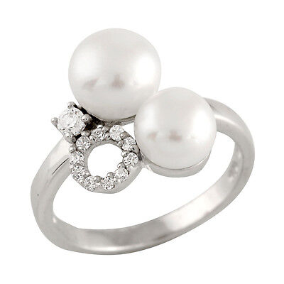 Fancy Sterling Silver ring with 6-7mm and 7-8mm button freshwater pearl RS-112