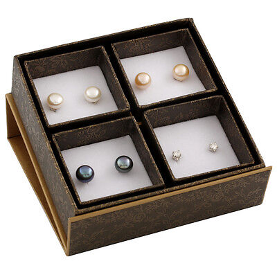 Boxed set including 9-9½mm white, natural pink & black button pearl studs SET-Q