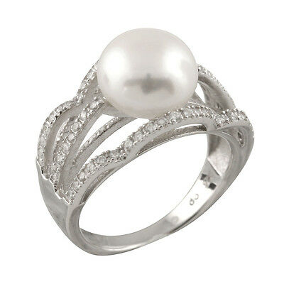 Fancy sterling silver rhodium plated ring with 10-11mm button shape pearl RS-165