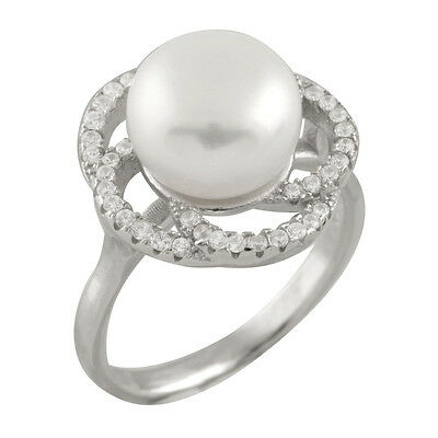 Fancy sterling silver rhodium plated ring, 11-12mm button shaped pearl RS-149