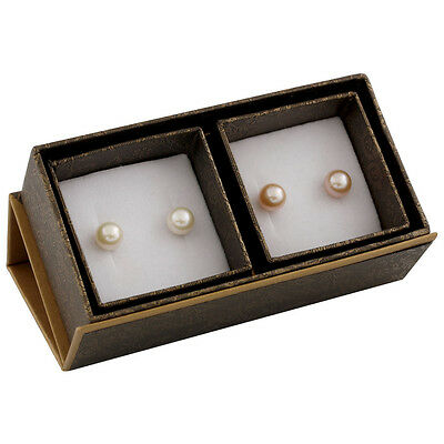 Boxed duo including 8-8½mm white & natural pink freshwater pearl studs SET-R-2