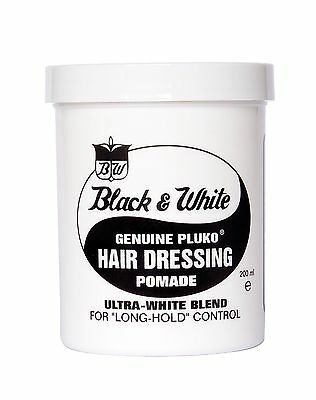 Black and White Hair Wax Genuine Pluko HAIR DRESSING POMADE 200ml