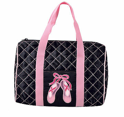 Girls Dansbagz Black Quilted On Pointe Duffel Duffle Dance Bag New
