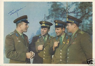 Yuri Gagarin Multi Signed First Four Cosmonaut Russian Postcard - Uacc Autograph