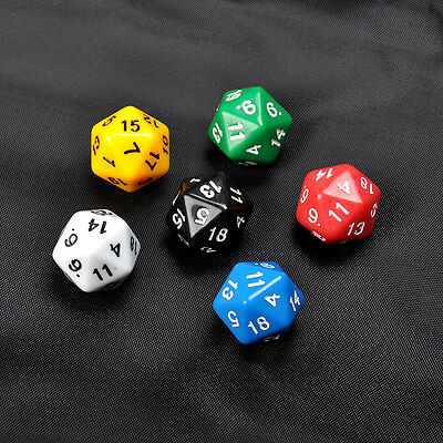 HOT1PC D20 Gaming Dice Twenty Sided Die RPG D&D - Six Opaque Colors