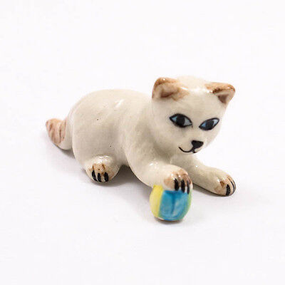 Kitten Cat Playing Ceramic Doll Figurine Miniature Dollhouse Collectible A1057