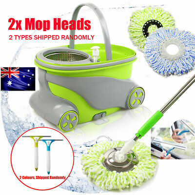 360° Rotating Head Magic Floor Mop Bucket 2 Head Microfiber Stainless Pole Spin