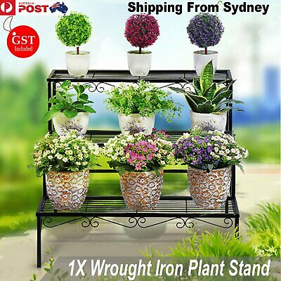 New 1 X Plant Stand Metal Black Iron Flower Pot  3 Tier Garden Home Wedding Deco