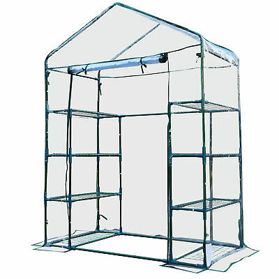 Outsunny Walk In Greenhouse Garden Clear PVC Frame Shelves Reinforced Plant Grow