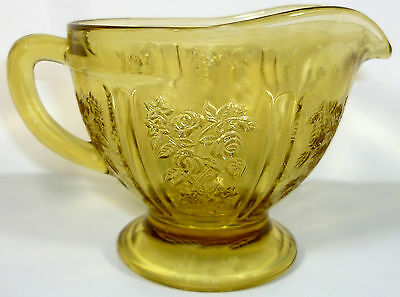 Vintage 1930's Federal Amber Glass Sharon Cabbage Rose Pattern Footed Creamer