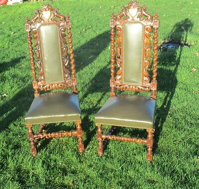 Amazing Antique Barley Twist Hand carved Wood Leather Parlour Chair Lions