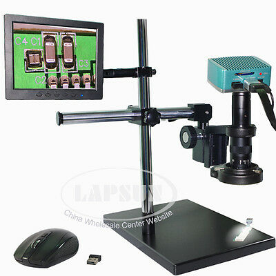 """1080P 180X HDMI USB Microscope Industrial Camera System Set + 8"""" IPS LCD Monitor"""