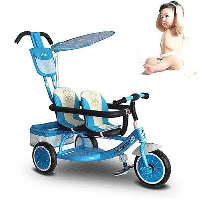 New Baby Twins Stroller Tandem Double Seats Tricycle Trike Ride-On Pram Buggy