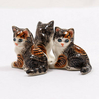 Black Kitten Cat 4cm Ceramic Doll Figurine Miniature Dollhouse Collectible A1084