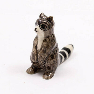 Raccoon Statue 4cm Ceramic Doll Figurine Miniature Dollhouse Collectible A1111
