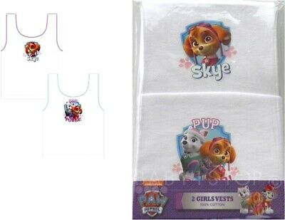 Paw Patrol Girls Cotton Vests 2 Pack 18-24 Months 2-3 3-4 4-5 Years White