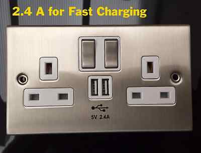 2.4A Double Gang Electrical Plug Wall Socket With 2 USB 13A Outlets Faceplate