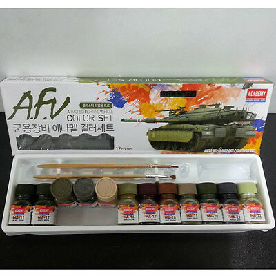 Academy Armored Fighting Vehicle Enamel Paint 12 Colors for Plastic Model 15906