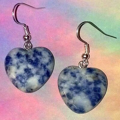 Sodalite, Chakra, Yoga ॐ, Heart Earrings Gemstone of Inner Peace, Stone of Truth