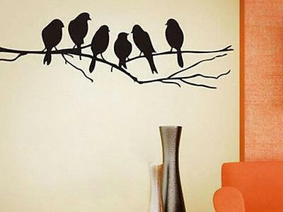 BLACK BIRD TREE BRANCH Wall Stickers Decal Removable Home Decor Mural Art Vinyl