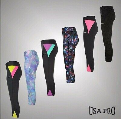 Ladies Branded USA Pro Lightweight Workout 3/4 Leggings Gym Pants Size 6-18